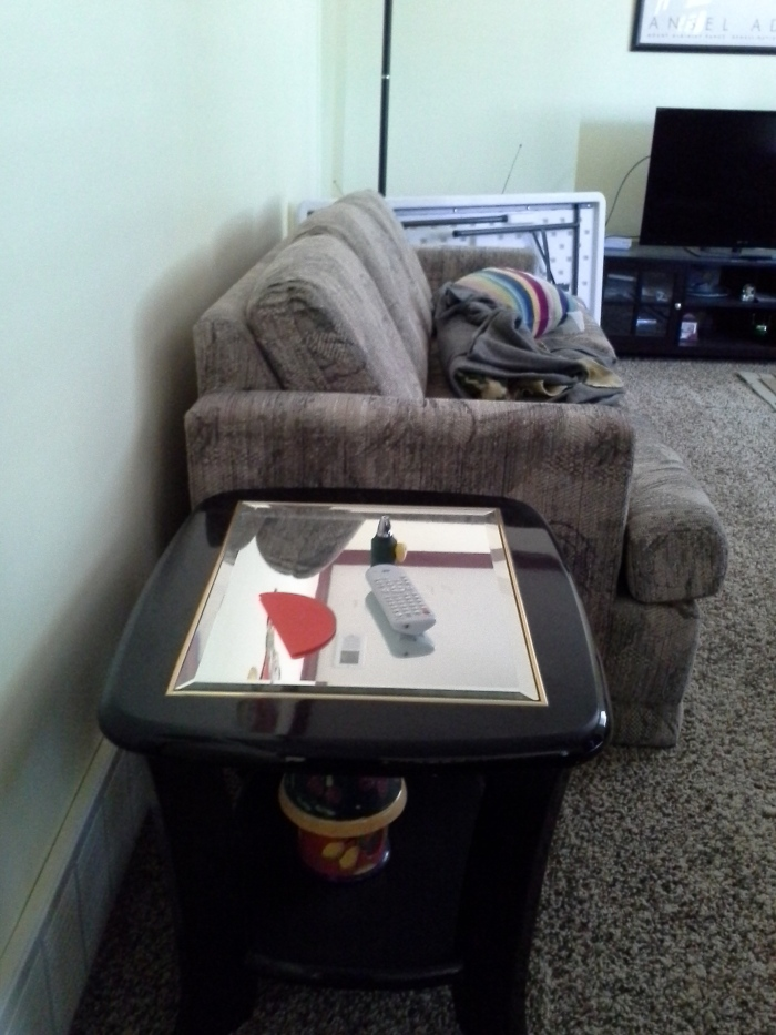 The Laz-boy sofa bed and the square coffee table that used to hold the TV. See what I mean about the mirror-glass?