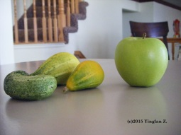 Harvest (cucumbers and granny smith apple_