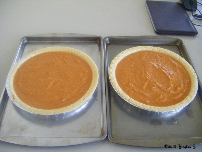 Step 4b: Separated into two pies. About to enter into oven