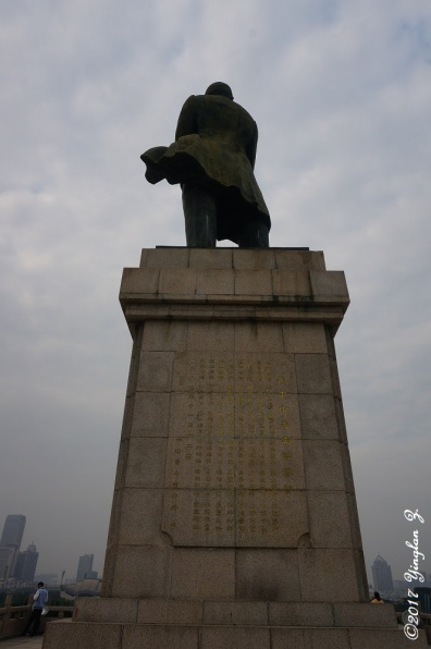 Looking up at the back of Sun-Yat-Sen's statue
