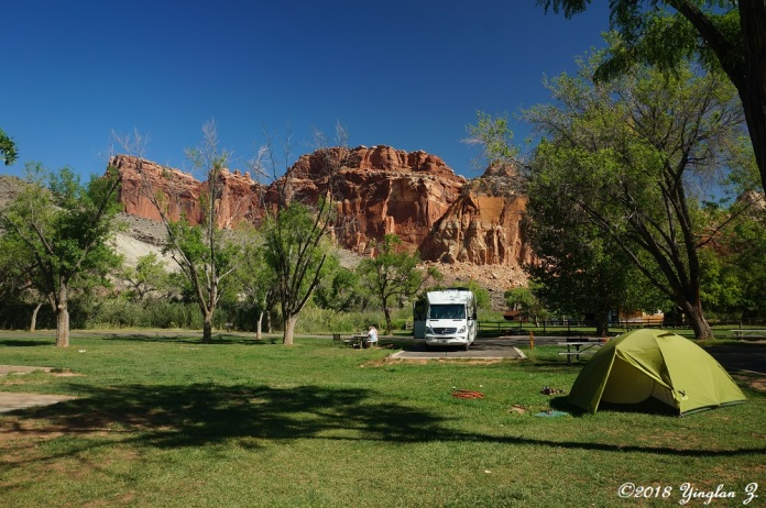 Light Green Tent in Capitol Reef Campground