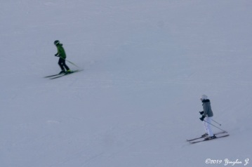 Skiers going downhill
